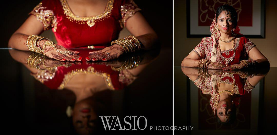 07-Indian-wedding-chicago-rosemont-bride-portrait-preparation Indian Wedding at Rosemont Convention Center - Arya and Arpit
