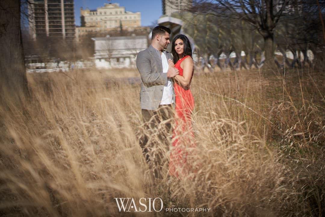 12-chicago-engagement-sunrise-red-dress-elegant Chicago Sunrise Engagement Session - Sara + Peter