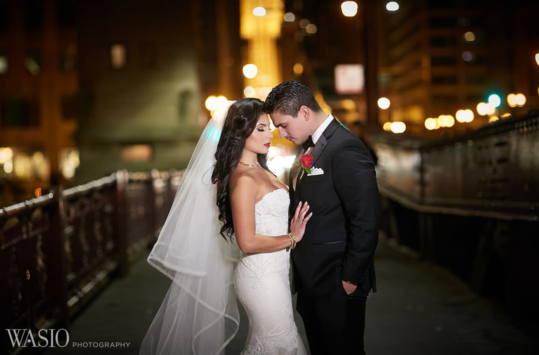 18-night-photo-canon-portrait-chicago-riverwalk Knickerbocker Hotel, Chicago Wedding - Magdalynn + Joseph