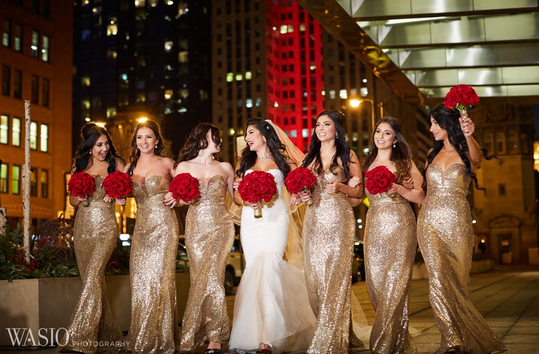 21-elegant-wedding-river-walk-chicago-gold-dresses Knickerbocker Hotel, Chicago Wedding - Magdalynn + Joseph