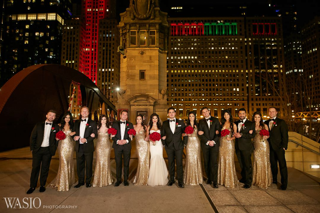 25-wedding-group-downtown-chicago-elegant-night Knickerbocker Hotel, Chicago Wedding - Magdalynn + Joseph