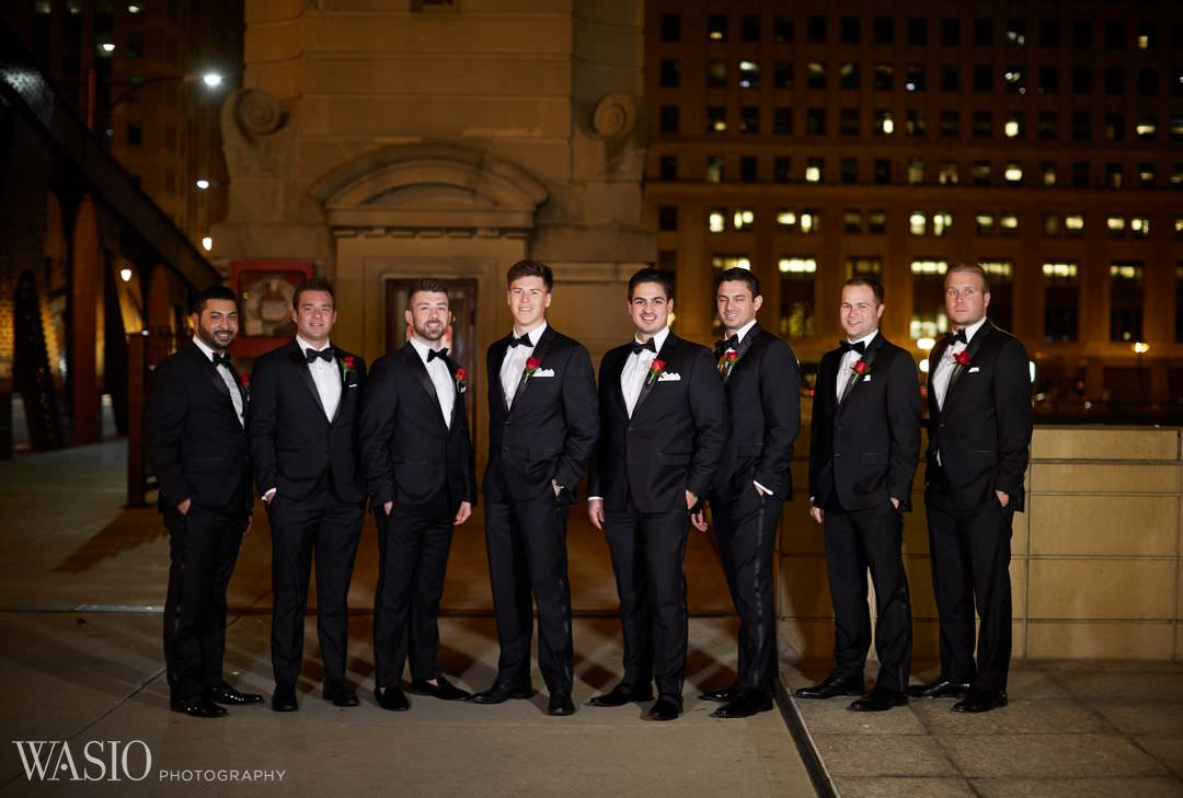 26-groom-groomsman-night-river-walk-chicago Knickerbocker Hotel, Chicago Wedding - Magdalynn + Joseph