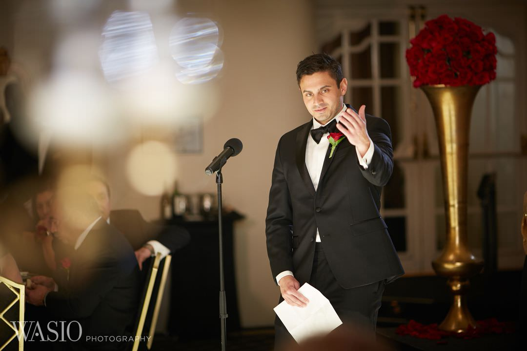 28.1-wedding-speach-groom-chicago Knickerbocker Hotel, Chicago Wedding - Magdalynn + Joseph