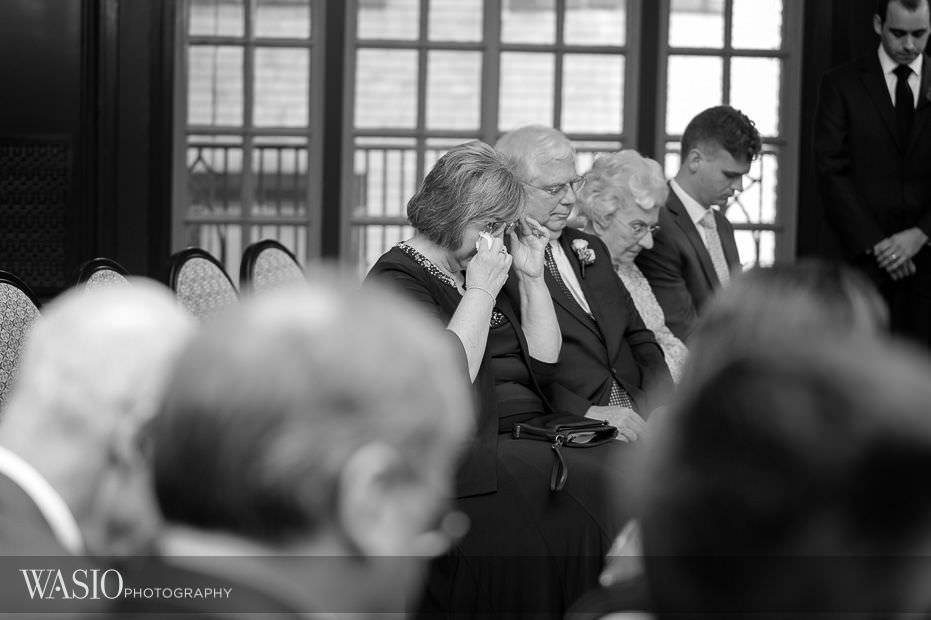Chicago-Athletic-Association-Wedding-black-white-photography-tears-mother-of-groom-109 Chicago Athletic Association Wedding - Allison and Clayton
