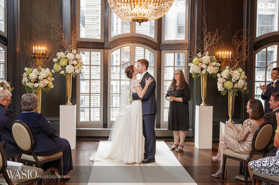 Chicago-Athletic-Association-Wedding-ceremony-first-kiss-photojournalistic-moment-106 Winner of The Knot 2018 Best of Weddings - WASIO photography
