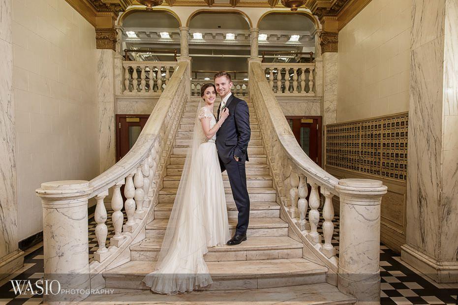 Chicago-Athletic-Association-Wedding-iconic-staircase-bride-groom-photo-098 Chicago Athletic Association Wedding - Allison and Clayton