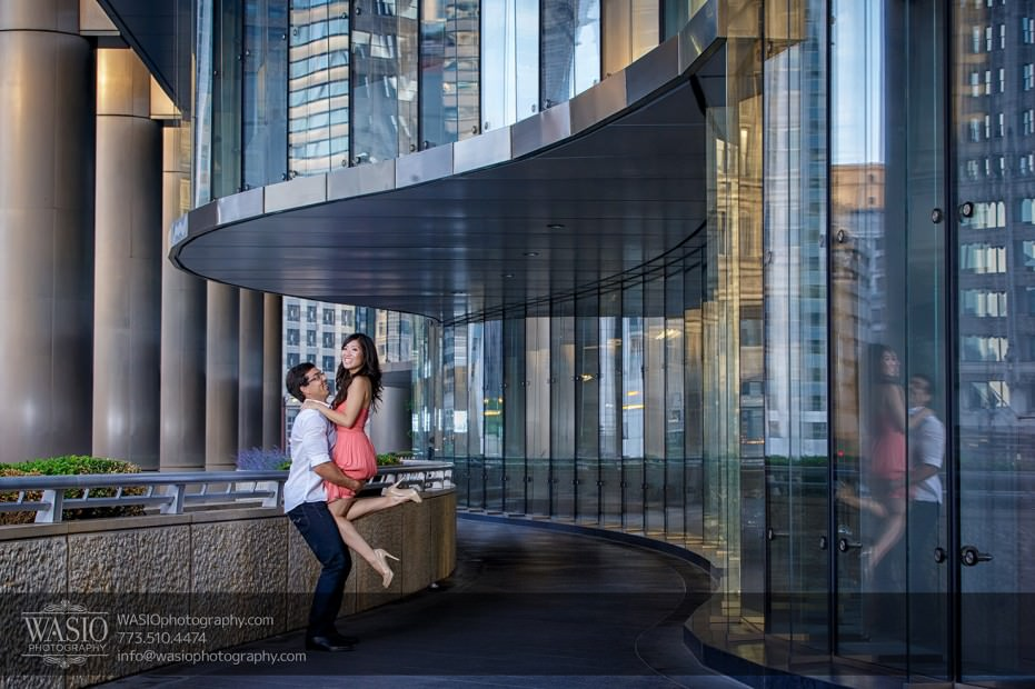 Chicago-Destination-Engagement-lift-reflection-fun-laughing-117-931x620 Chicago Destination Engagement - Mai + PJ
