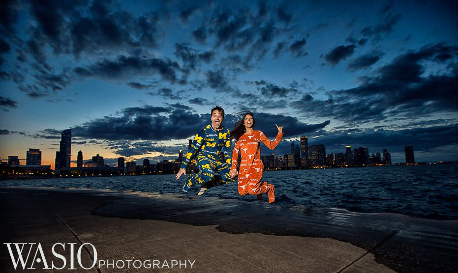 Chicago-Indian-Engagement-session-best-college-onsies-idea-jump-lake-michigan-skyline-sunset-13 Chicago Indian Engagement Session - Reeya & Aman