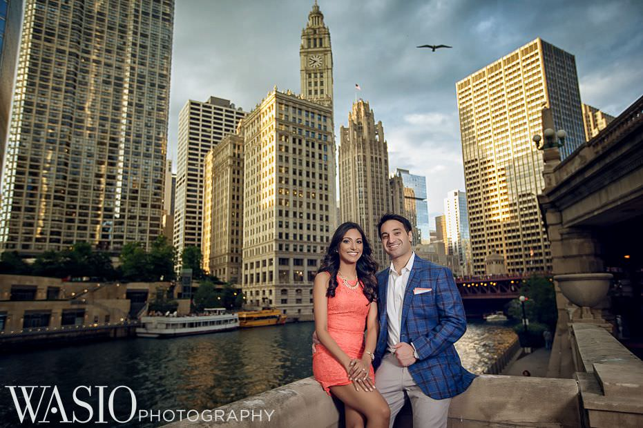 Chicago-Indian-Engagement-session-riverwalk-skyline-dramatic-clouds-10 Chicago Indian Engagement Session - Reeya & Aman