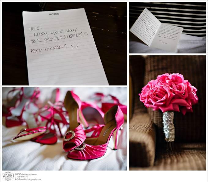 Chicago-Wedding-Michigan-Avenue-InterContinental-Hotel-wedding-details-flowers-letter-pink-shoes-680x595 Shedd Aquarium Wedding & Grant Park's Tiffany Garden - Julie & Caleb