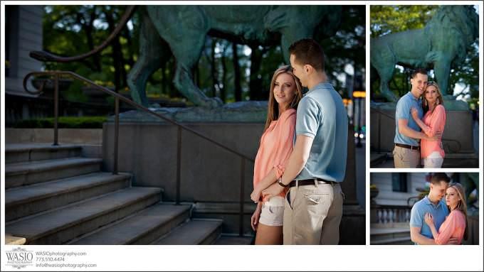 Chicago-Wedding-Photographer-vibrant-engagement-photography-art-institure-lion-statue-entrance-680x383 Art Institute Gardens Engagement - Natalia & Michal