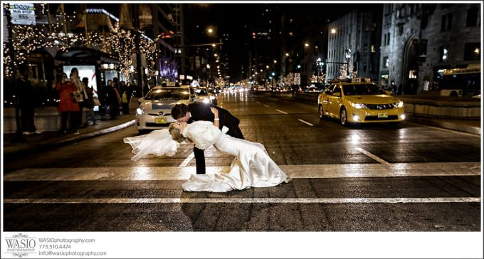 Chicago-Wedding-Photography_399-michigan-avenue-dip-with-kiss-680x364 Chicago Wedding at Blackstone Hotel - Jody + Mike