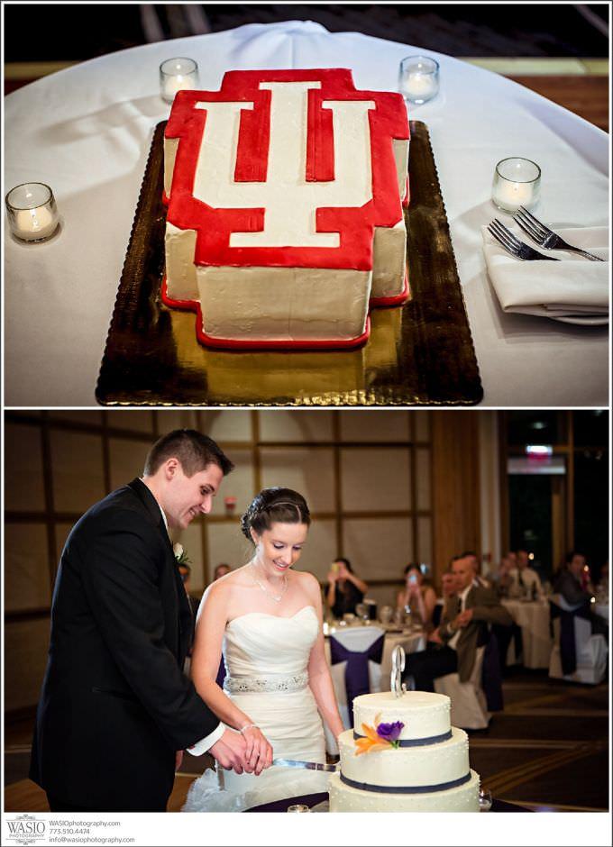 Chicago-Wedding-Photography_420-hyatt-lodge-mc-donalds-oak-brook-cake-cutting-680x940 Indiana Hoosiers love story - Kelly + Matt