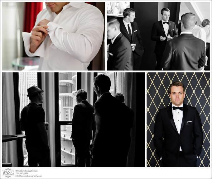Chicago-Wedding-Sax-Hotel-Groom-Getting-Ready-groomsmen_040-680x575 Shedd Aquarium Wedding & Grant Park's Tiffany Garden - Julie & Caleb