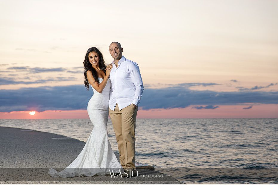 Chicago-beach-london-house-engagement-North-Avenue-beach-summer-sunrise-photography-cotton-candy-sky-white-gown-74 Chicago Beach & London House Engagement - Donna + Sharbel