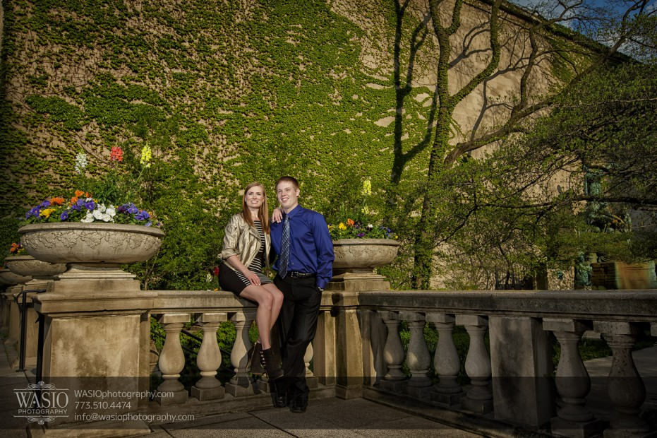 Chicago-engagement-photography-060-fancy-sitting-flowers-green-nature-dress-931x620 Chicago engagement photography session - Lauren + Matt