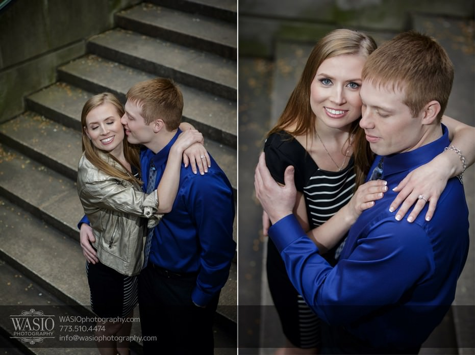 Chicago-engagement-photography-061-stairs-kiss-smile-sincere-931x696 Chicago engagement photography session - Lauren + Matt