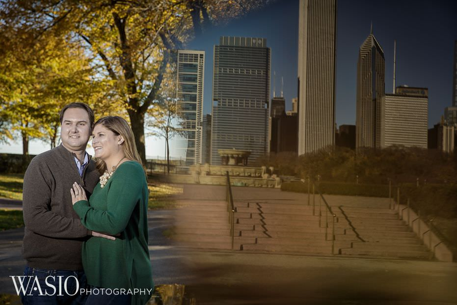 Chicago-engagement-photography-downtown-skyline-reflection-28 Chicago Engagement - Allie + John