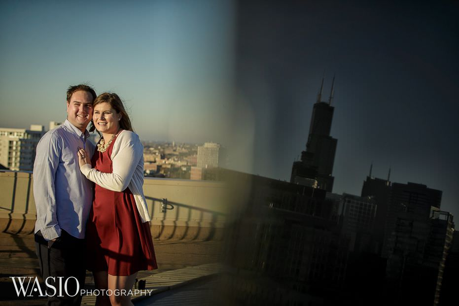 Chicago-engagement-photos-Lincoln-Park-skyline-reflection-rooftop-view-20 Chicago Engagement - Allie + John