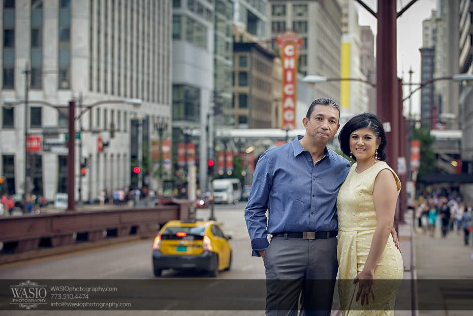 Chicago-engagement-photos-Theater-downtown-traffic-bridge-159 Chicago Engagement Photos - Claudia + Javier