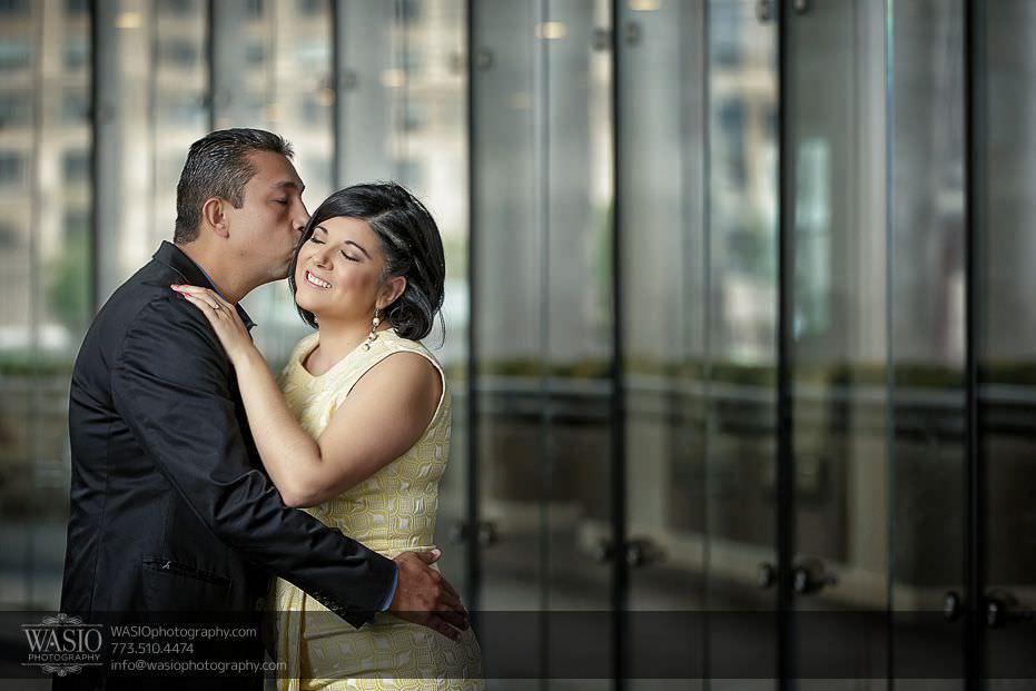 Chicago-engagement-photos-Trump-Tower-reflections-kissing-happy-164 Chicago Engagement Photos - Claudia + Javier