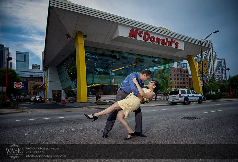 Chicago-engagement-photos-epic-dip-rock-n-roll-mcdonalds-famous-traffic-fun-162 Chicago Engagement Photos - Claudia + Javier