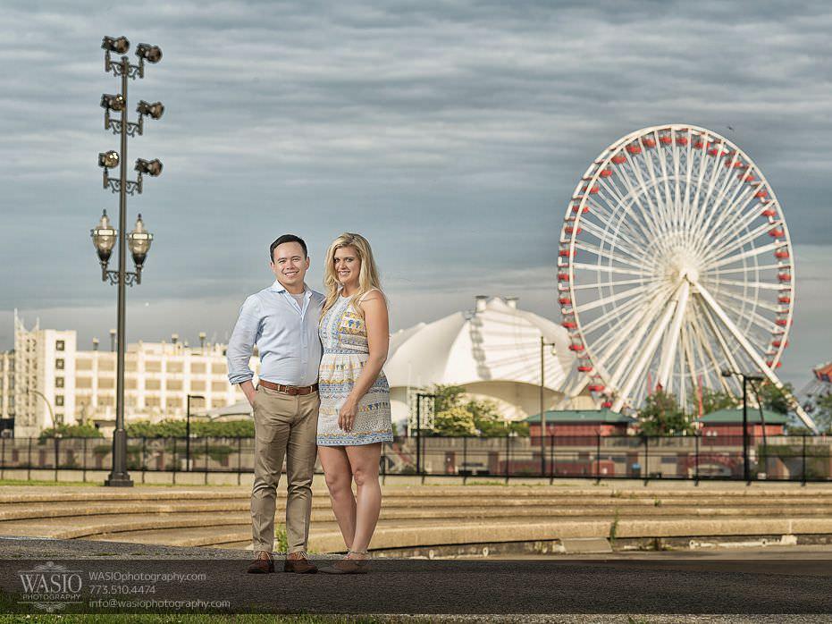 Chicago-summer-engagement-Olive-Park-dramatic-sky-ferris-wheel-2 Chicago Summer Engagement - Lindsey + Edward