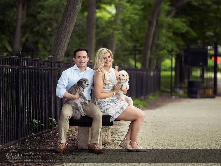 Chicago-summer-engagement-cute-puppies-sitting-bench-outdoor-nature-valentino-shoes-1 Chicago Summer Engagement - Lindsey + Edward