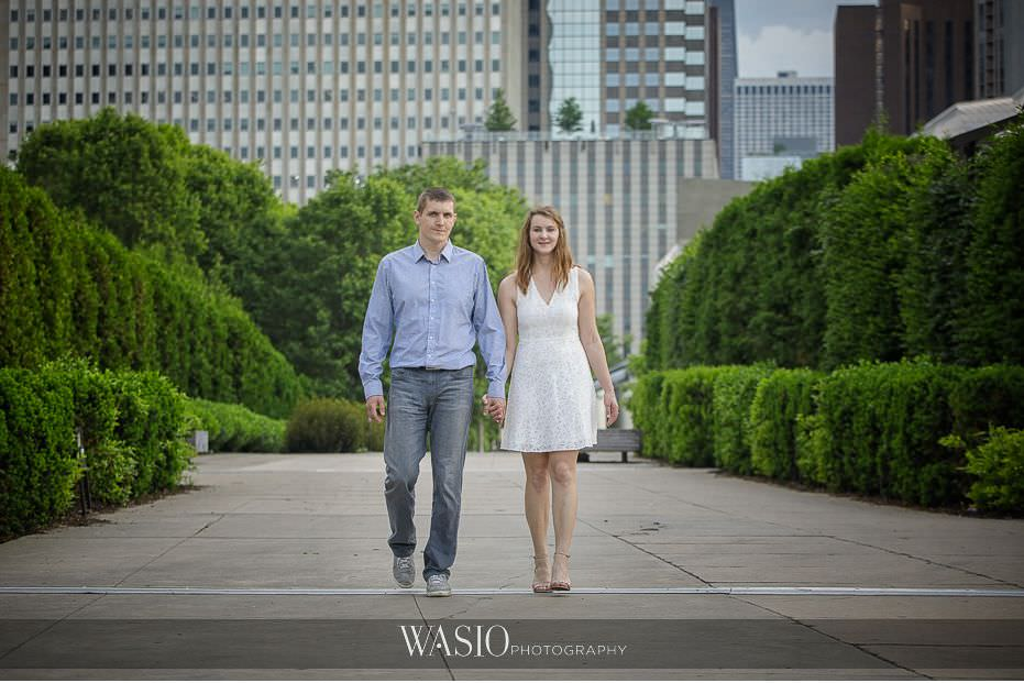 Chicago-summer-engagement-photos-Millennium-Park-walking-holding-hands-4 3 Tips For Your Chicago Summer Engagement Photos - Kate & Igor