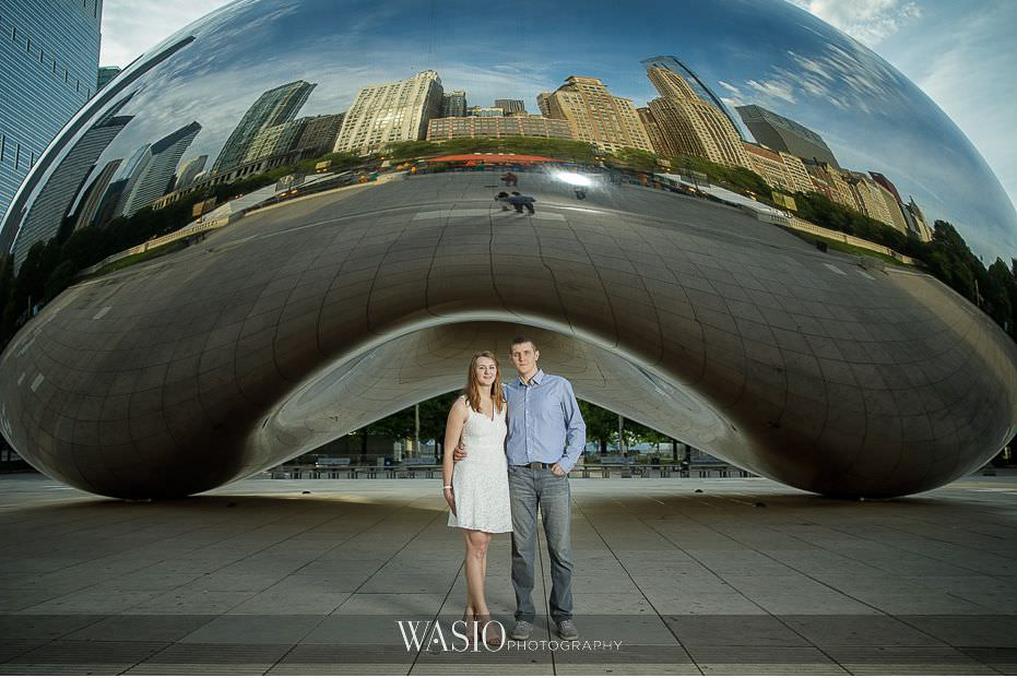 Chicago-summer-engagement-photos-sunrise-Millennium-Park-The-Bean-Skyline-reflection-3 3 Tips For Your Chicago Summer Engagement Photos - Kate & Igor