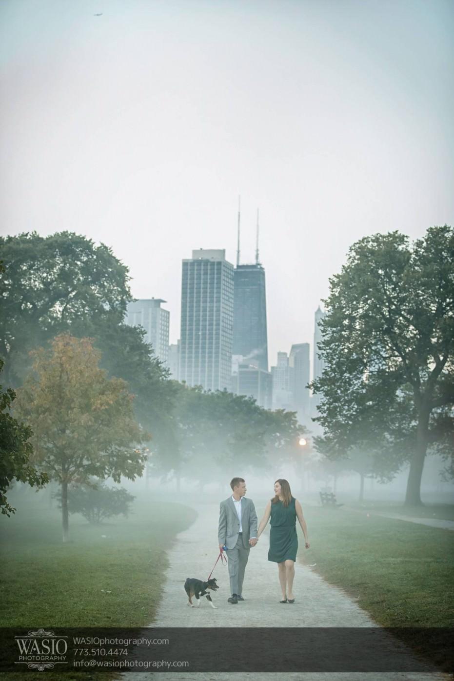 Chicago-sunrise-engagement-fog-puppy-walking-hancock-skyline-sunrise-dawn-046-931x1396 Chicago Sunrise Engagement - Dana & Nolan