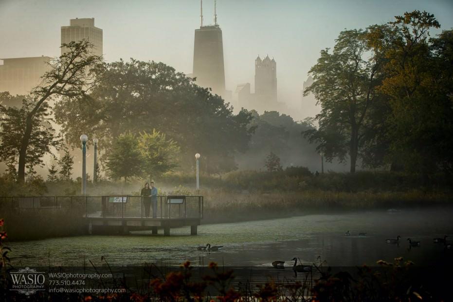 Chicago-sunrise-engagement-landscape-skyline-unique-view-pond-geese-0054-931x620 Chicago Sunrise Engagement - Dana & Nolan