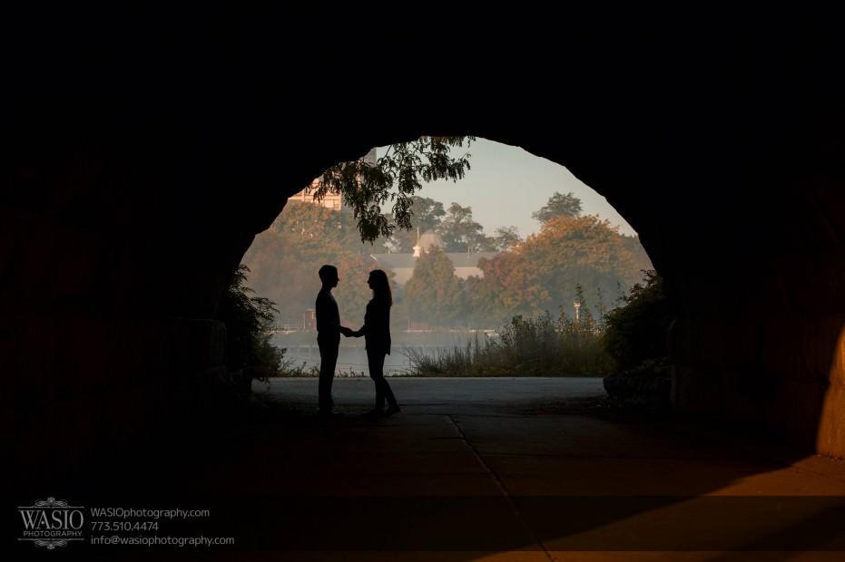 Chicago-sunrise-engagement-tunnel-love-siloutte-0053-931x620 Chicago Sunrise Engagement - Dana & Nolan