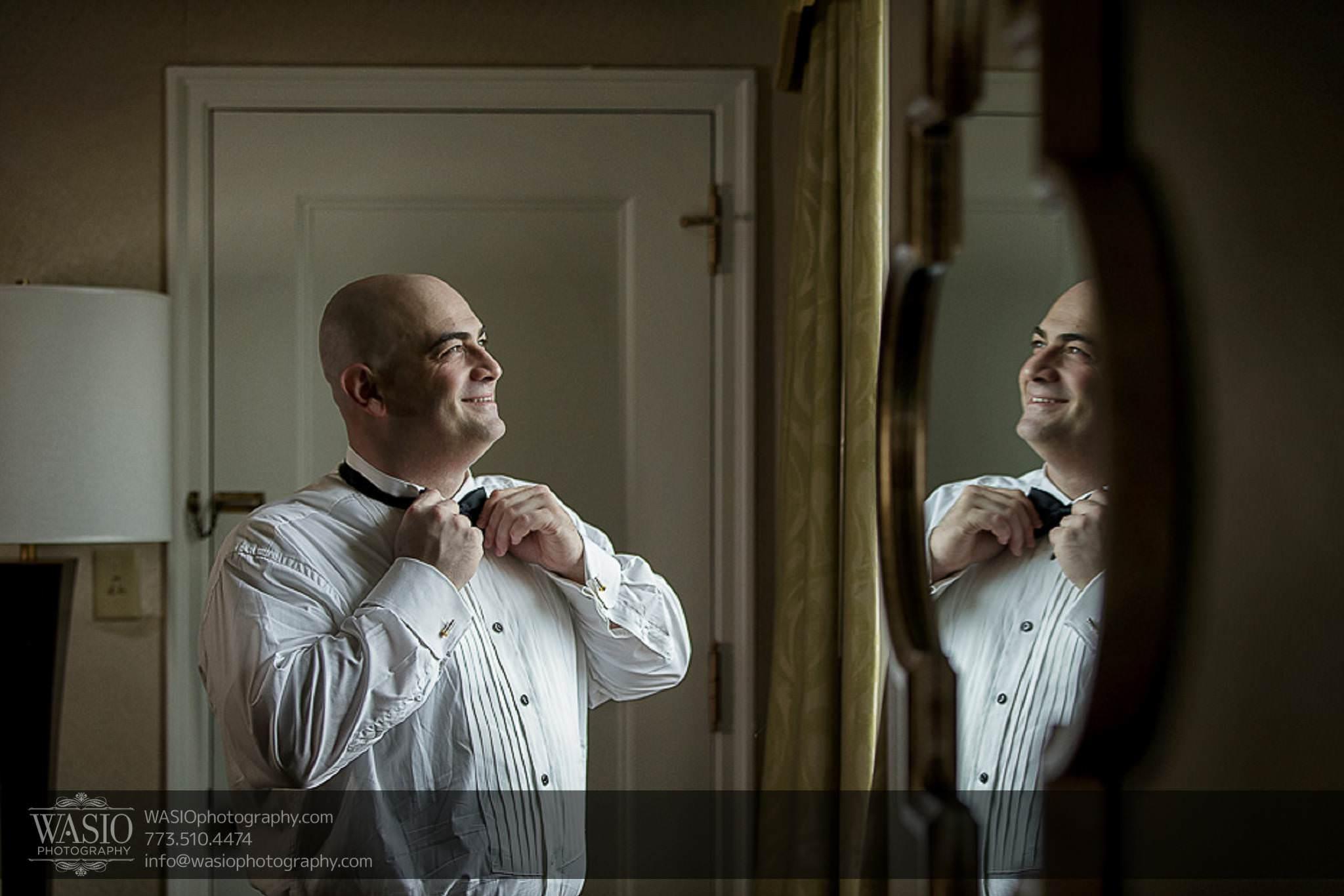 Chicago-wedding-photos-happy-groom-natural-light-smile-bow-tie-window-038 Chicago Wedding Photos - Svetlana + Yuriy