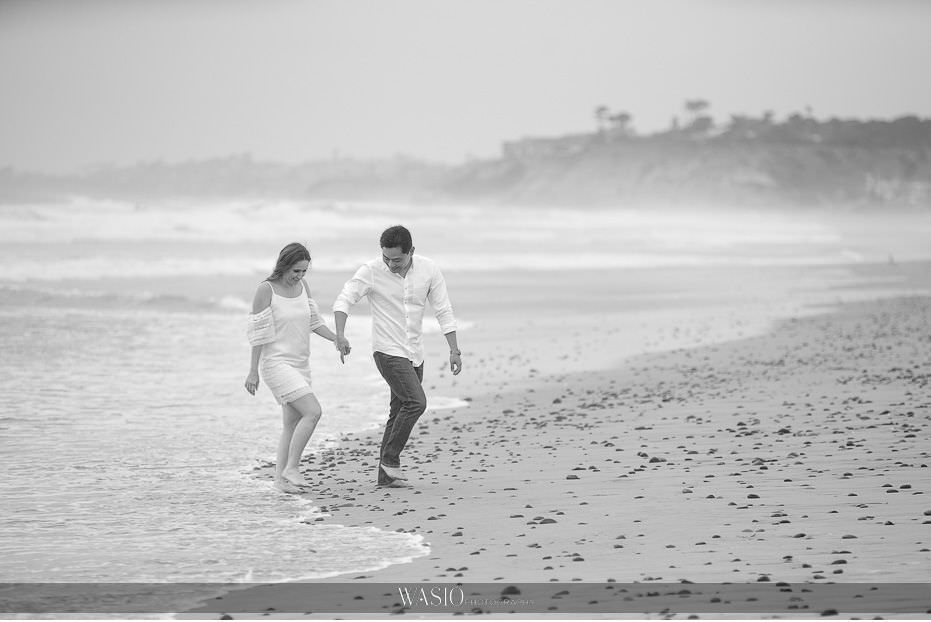 Del-Mar-Engagement-black-white-Photography-running-on-beach-25 Del Mar Engagement - Yu and Mariana