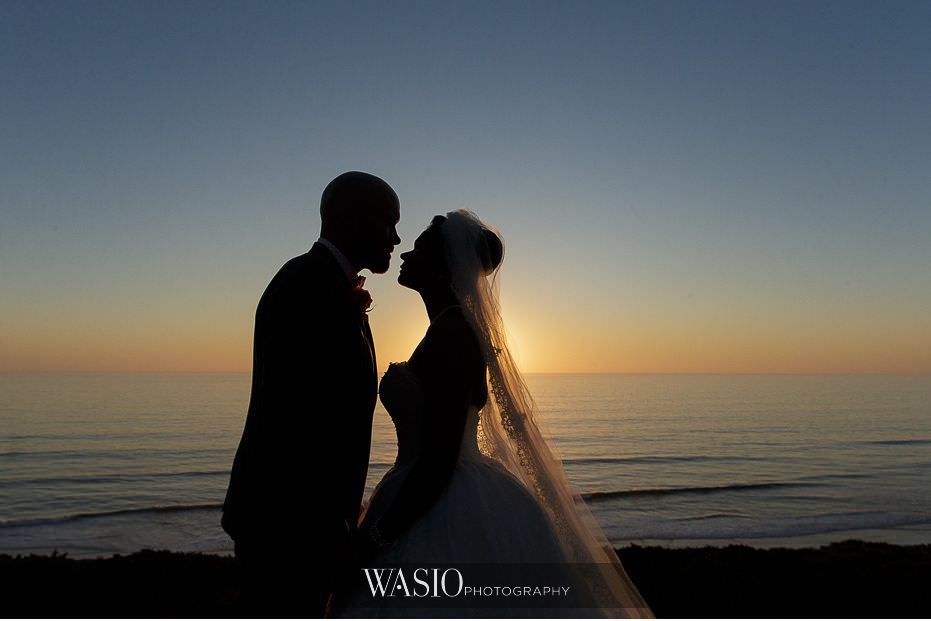 Del-Mar-Wedding-bride-groom-romantic-sunset-silhouette-kiss-21 Del Mar Wedding By The Ocean - Shanie and James