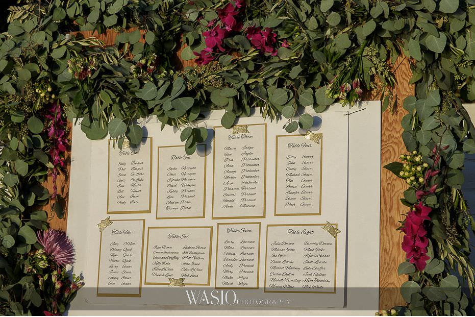 Del-Mar-Wedding-custom-seating-chart-outdoor-sunset-whimsey-florals-20 Del Mar Wedding By The Ocean - Shanie and James