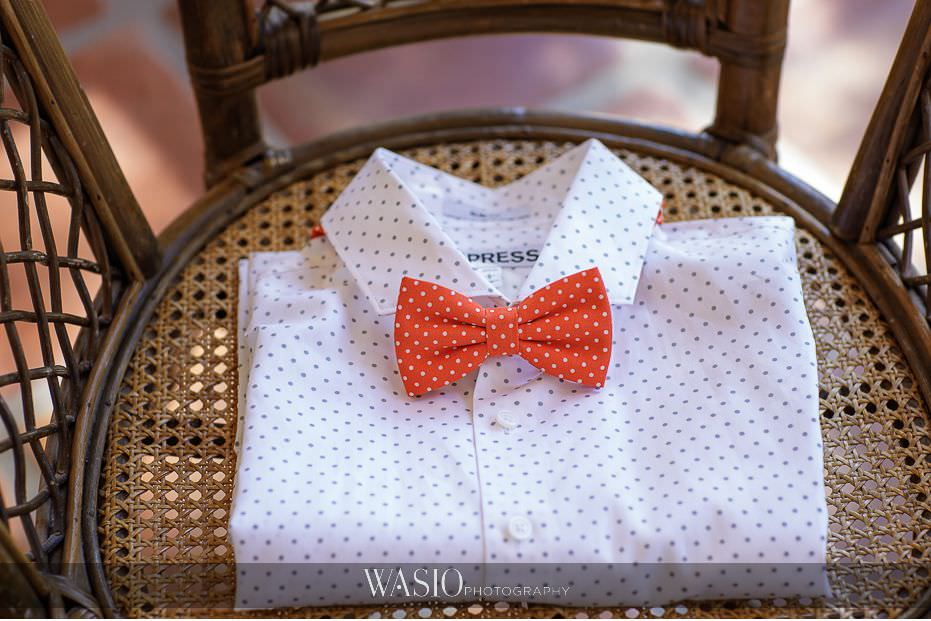 Del-Mar-Wedding-groom-detail-white-polka-dot-dress-shirt-orange-bow-tie-express-89 Del Mar Wedding By The Ocean - Shanie and James