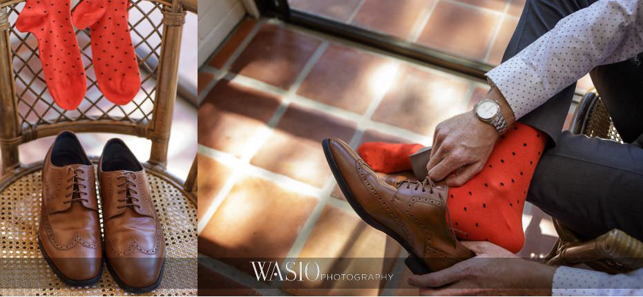 Del-Mar-Wedding-groom-details-brown-cole-han-shoes-orange-socks-banana-republic-90 Del Mar Wedding By The Ocean - Shanie and James