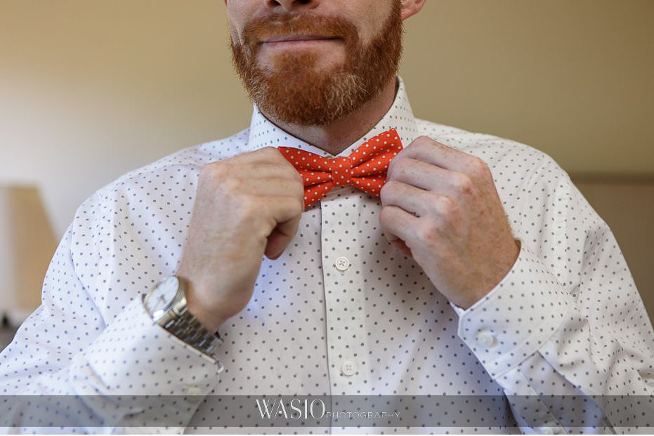 Del-Mar-Wedding-orange-bow-tie-beard-tissot-watch-91 Del Mar Wedding By The Ocean - Shanie and James