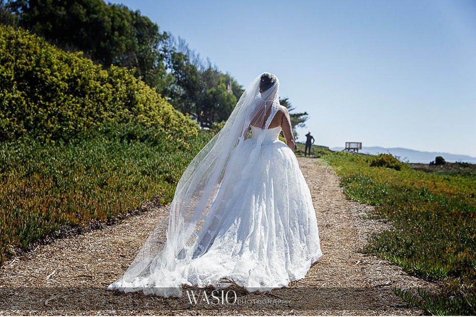 Del-Mar-Wedding-princess-dress-romantic-outdoor-first-look-water-views-bride-02 Del Mar Wedding By The Ocean - Shanie and James