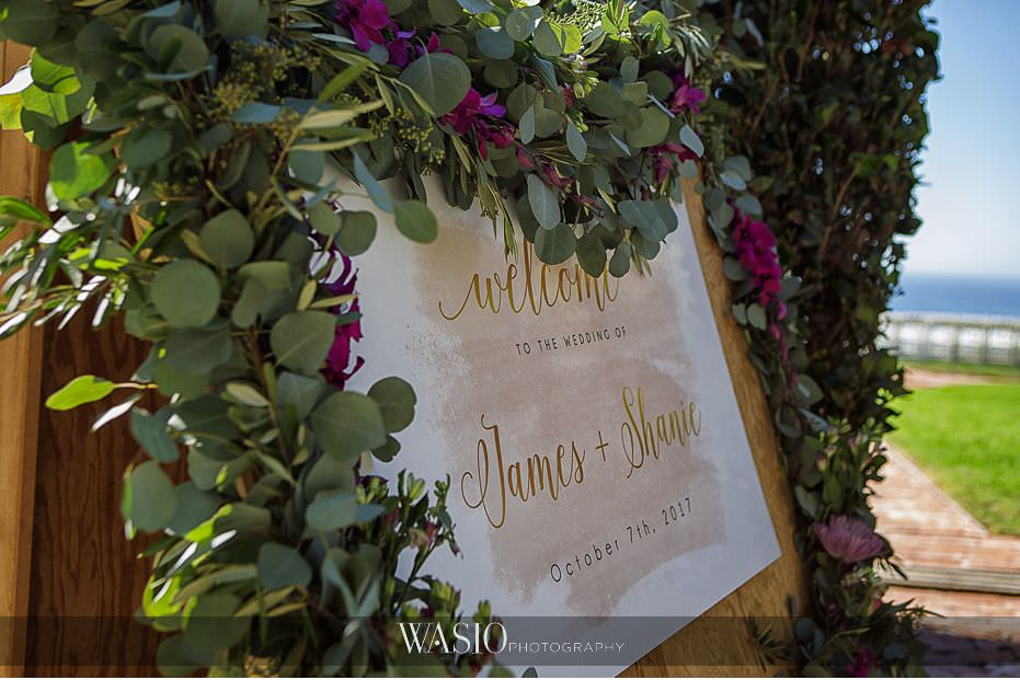 Del-Mar-Wedding-welcome-sign-custom-floral-wreath-whimsey-florals-decoration-05 Del Mar Wedding By The Ocean - Shanie and James