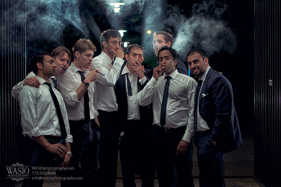 Destination-Chicago-Wedding-Photographer-Good-Fellas-Grungy-Groomsmen-Smoking-Photo-931x620 University of Chicago wedding at Smart Museum of Art - Lynn+Satya
