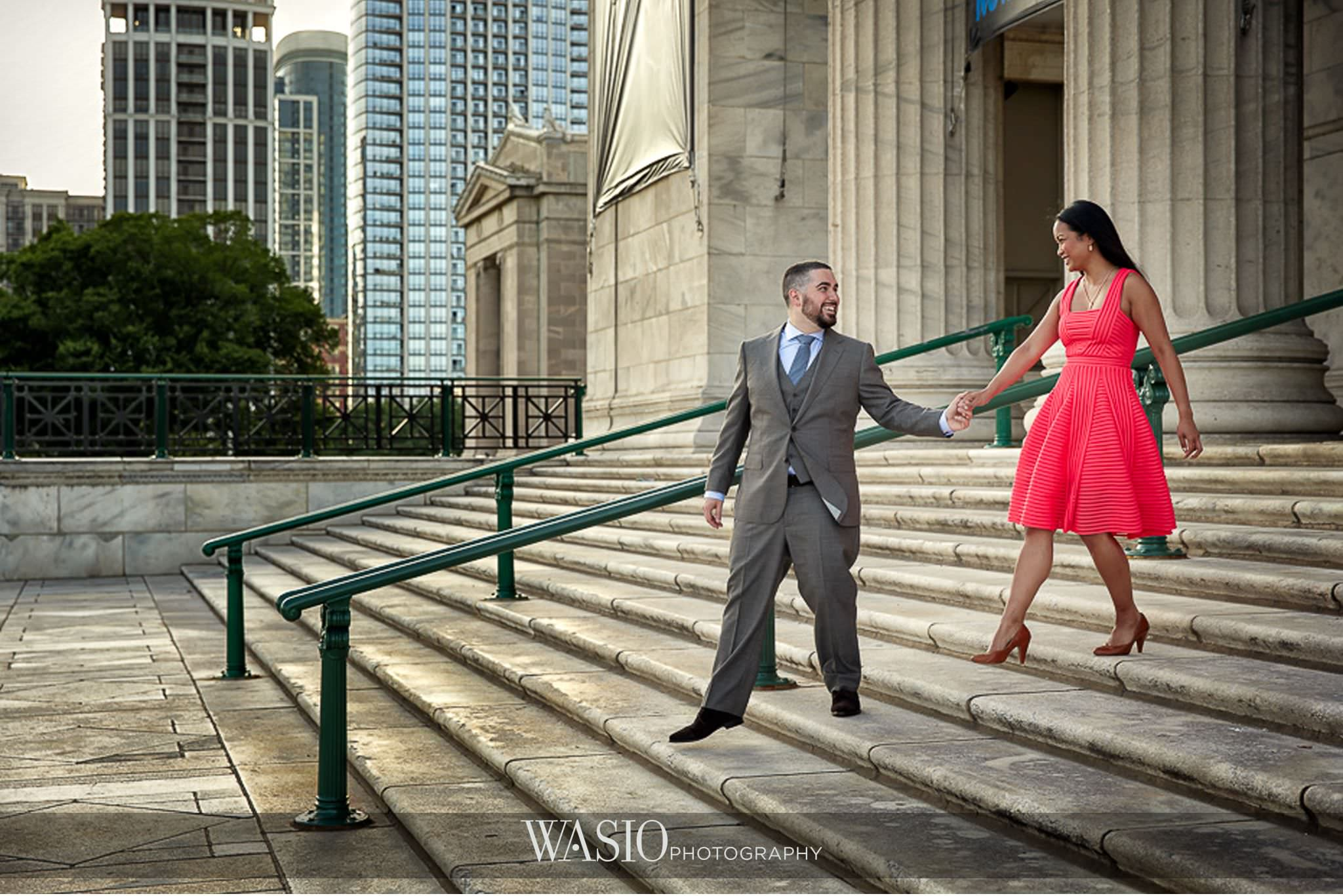 Field-Museum-Engagement-San-Diego-La-Jolla-Southern-California-Chicago-red-dress-romantic-stairs-blog-1 Field Museum Engagement - Regan and Rameil
