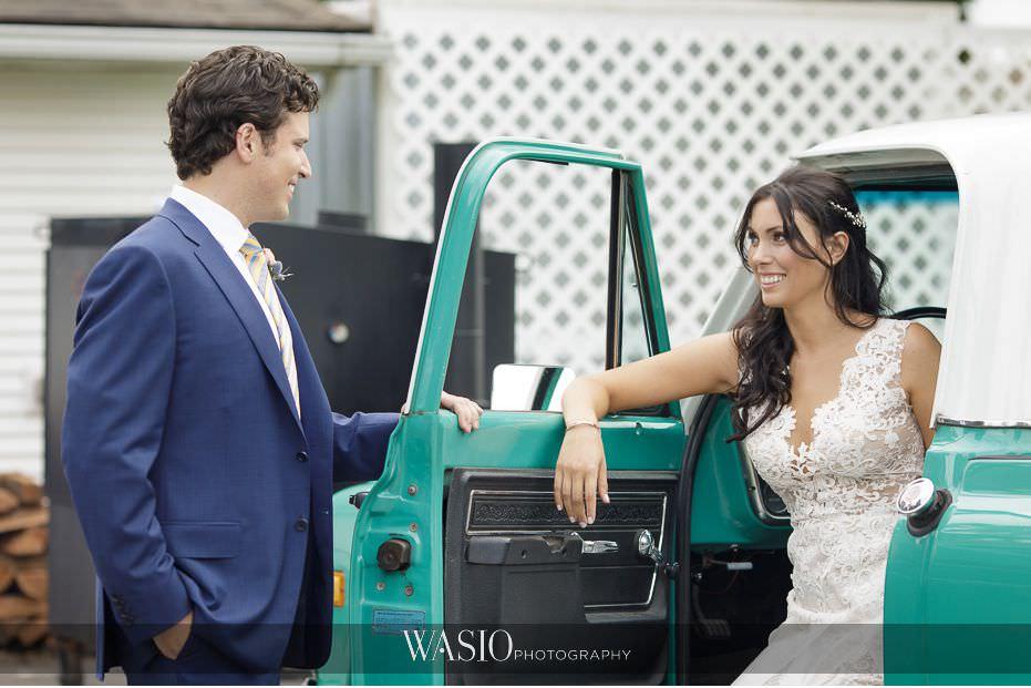 Heritage-Prairie-Farm-Wedding-bride-groom-portrait-fun-pick-up-truck-96 Heritage Prairie Farm Wedding