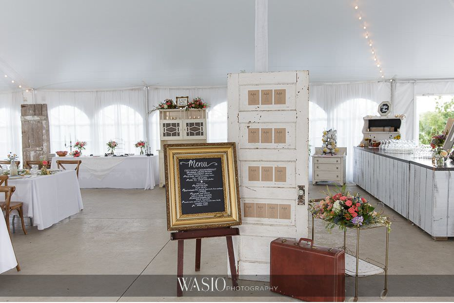 Heritage-Prairie-Farm-Wedding-white-tent-reception-rustic-farm-door-table-seating-chart-decor-details-65 Heritage Prairie Farm Wedding