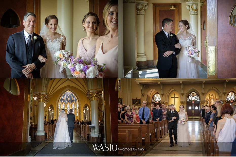 Hotel-Arista-Naperville-Wedding-St.-Peter-and-Paul-Cathedral-intimate-moment-mother-of-the-bride-father-of-the-bride-walking-down-aisle-12 Hotel Arista Naperville Wedding - Alina and Mike