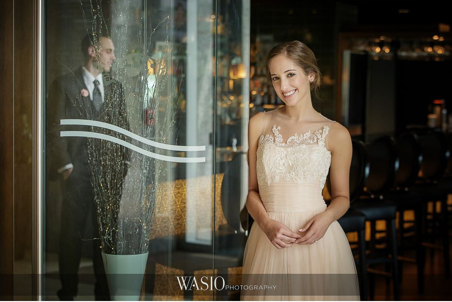 Hotel-Arista-Naperville-Wedding-bride-groom-reflection-photo-01 Hotel Arista Naperville Wedding - Alina and Mike