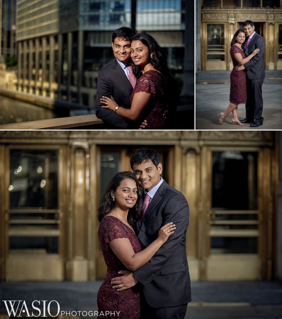Indian-engagement-session-Wrigley-building-gold-doors-sunrise-chicago-86 Indian Engagement Session - Swetha & Siddharth