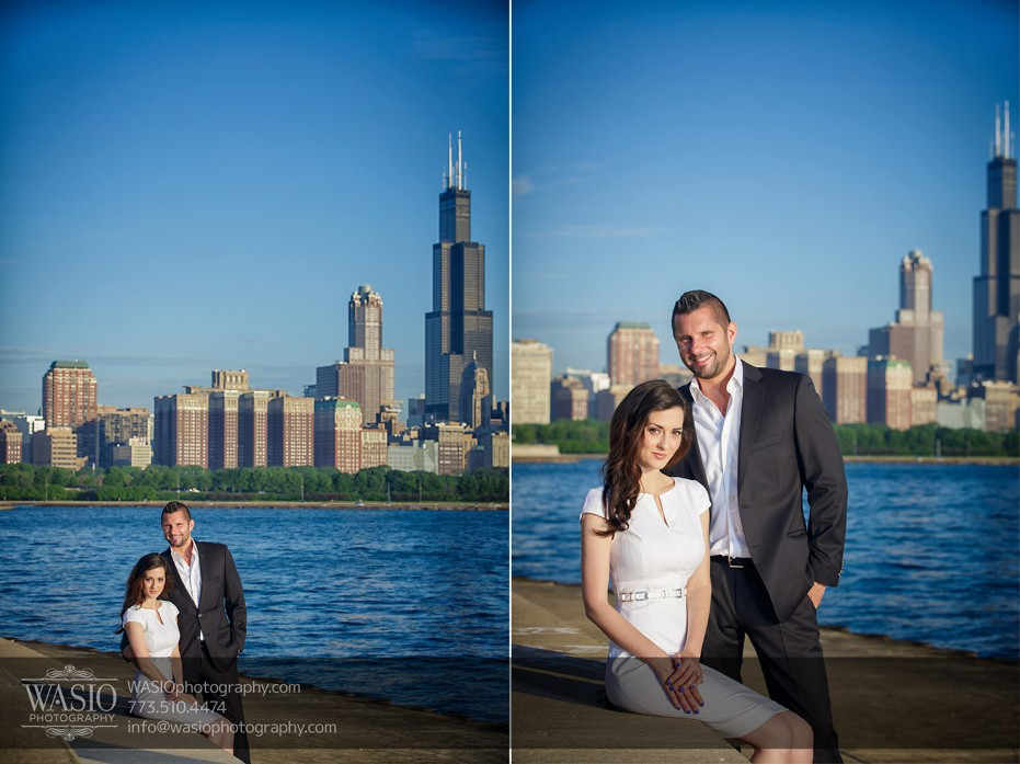 KS-ENG-2014-_Q7A7604-931x697 Chicago skyline sunrise engagement - Katherine + Stephen